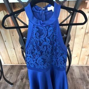 Blue halter top lace dress